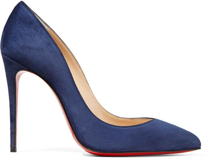 low priced 6e49e 06e9c $675, Christian Louboutin Pigalle Follies 100 Suede Pumps Navy
