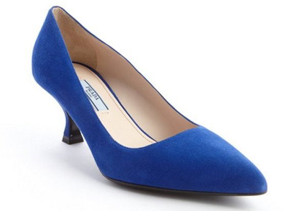 Prada Blue Suede Pointed Toe Kitten Heel Pumps | Where to buy ...