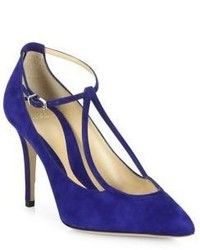 Giorgio Armani Suede Ankle Strap Point Toe Pumps