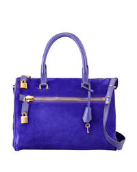 Blue Suede Satchel Bag
