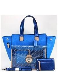 Dasein Two Tone Metallic Contrast Tote Bag Shoulder Bag Handbag With Coin Pouch
