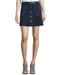 Rag & Bone Siggy Snap Front Suede Skirt Navy