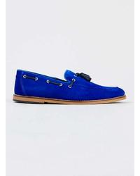 Topman Harvey Blue Suede Loafers