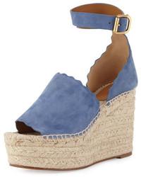 Chloe suede dorsay espadrille sandal cobalt medium 949554