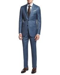Ermenegildo Zegna Sharkskin Two Piece Wool Suit Blue