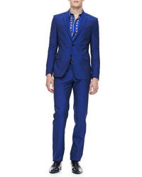Versace Collection Slim Fit Two Piece Suit Blue