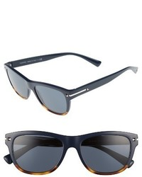 Valentino 53mm Rectangle Sunglasses Blue Havana