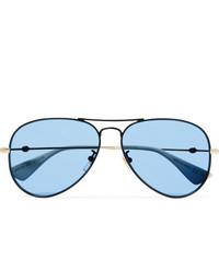 Gucci Aviator Style Black And Gold Tone Sunglasses
