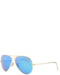 Ray-Ban Aviator Sunglasses With Flash Lenses Goldblue Mirror