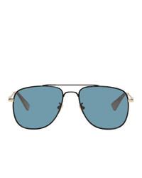 Gucci Black And Blue Square Aviator Sunglasses