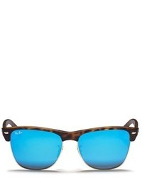 Ray-Ban Clubmaster Matte Acetate Browline Oversized Mirror Sunglasses