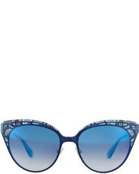 6ff5cd6d08d ... Jimmy Choo Estelle Lace Pattern Cat Eye Sunglasses Blue