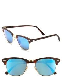 Ray-Ban Flash Clubmaster 51mm Sunglasses Tortoise Blue Mirror