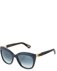 Lanvin Matte Cat Eye Sunglasses Turquoise Bluebrown
