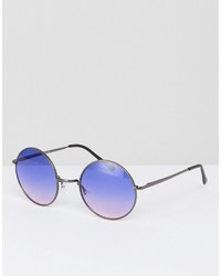 Asos Metal Round Sunglasses With Blue Grad Lens