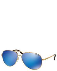 Michael Kors Michl Kors Mirrored Flash Aviator Sunglasses Goldblue