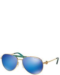 Michael Kors Michl Kors Mirrored Logo Aviator Sunglasses