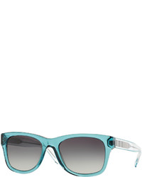 Burberry Plastic Square Sunglasses With Check Detail Teal