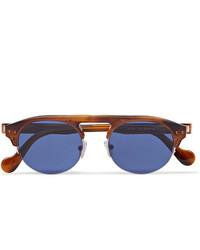 Moncler Round Frame Tortoiseshell Acetate Sunglasses