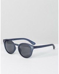 Asos Round Sunglasses In Matte Blue