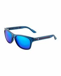 Gucci Square Plastic Sunglasses W Web Arms Blue
