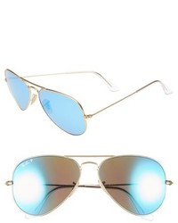 Ray-Ban Standard Icons 58mm Mirrored Polarized Aviator Sunglasses Gold Blue Mirror