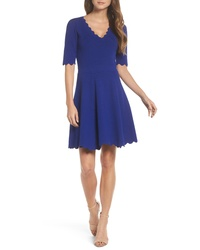Eliza J Scallop Fit Flare Dress
