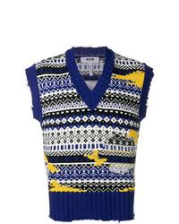 MSGM Fair Isle Sleeveless Sweater