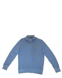 Ralph Lauren Polo Pullover Suede Placket Trim Zip Sweater