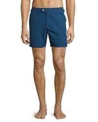 Tom Ford Solid Micro Faille Swim Trunks Bright Blue