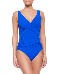 Karla Colletto One Piece Swimsuit With Crisscross Front Cobalt