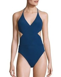 Tory Burch Solid Wrap One Piece Swimsuit