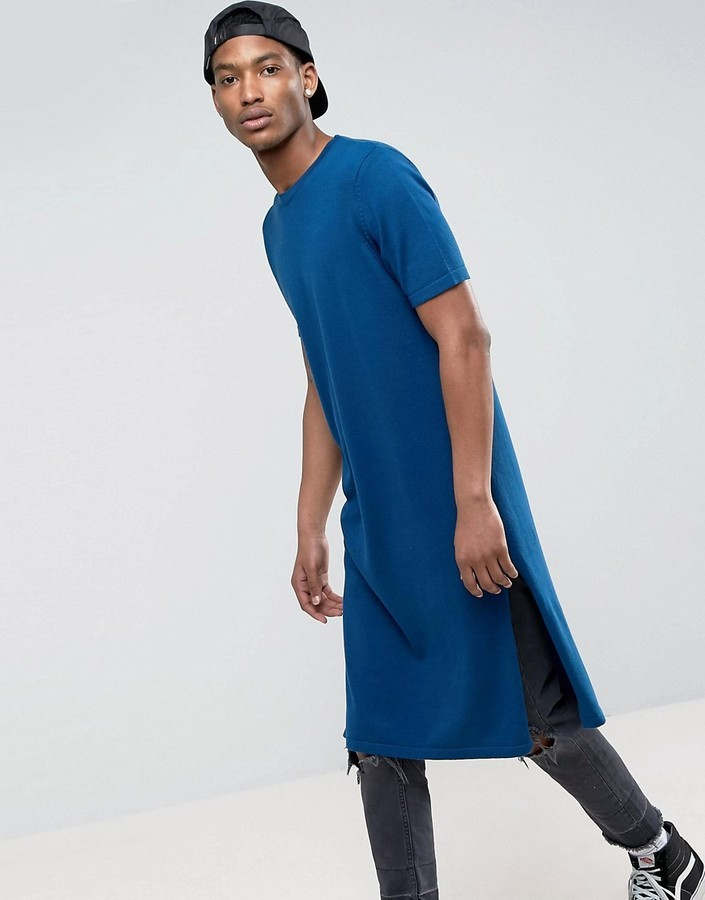 723dd43279cd Asos Extreme Longline Knitted T Shirt With Side Splits In Navy, $32 ...