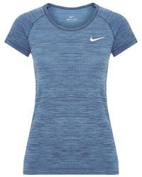 Nike Paneled Dri Fit Stretch T Shirt Blue