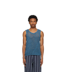 Nicholas Daley Blue Knit Gart Dyed Vest
