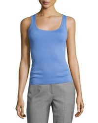 Michael Kors Michl Kors Collection Cashmere Scoop Neck Shell Tank Blue