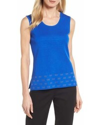 Ming Wang Scoop Neck Trimmed Tank