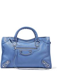 Balenciaga Metallic Edge City Textured Leather Tote Light Blue
