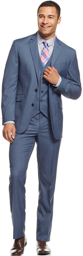Kenneth Cole Reaction Light Blue Slim Fit Vested Suit | Where to