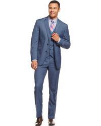 Kenneth Cole Reaction Light Blue Slim Fit Vested Suit