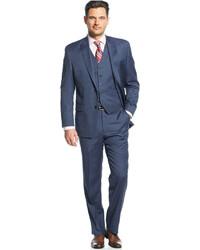 MICHAEL Michael Kors Michl Michl Kors Blue Tight Stripe Vested Suit
