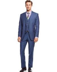 Perry Ellis Portfolio Blue Sharkskin Vested Slim Fit Suit