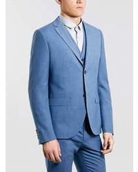 Topman Blue Skinny Suit Jacket