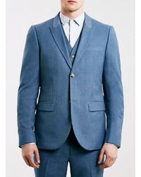 Topman Mid Blue Skinny Fit Suit Jacket