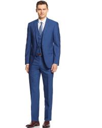 Calvin Klein X Mid Blue Stripe Vested Extra Slim Fit Suit