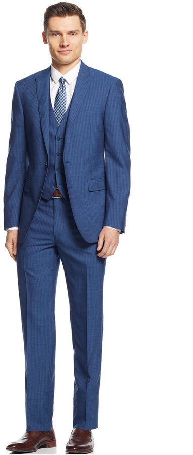 Calvin Klein X Mid Blue Stripe Vested Extra Slim Fit Suit | Where ...