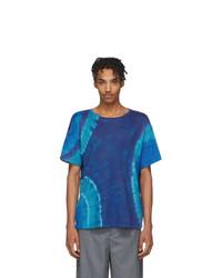 The Elder Statesman Blue Cashmere Tie Dye T Shirt