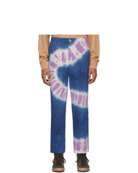 The Elder Statesman Navy And Purple Tie Dye Jeans