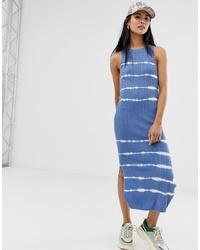 Stradivarius Tie Dye Maxi Dress In Blue