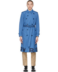 Burberry Blue Lightweight Logo Trench Coat